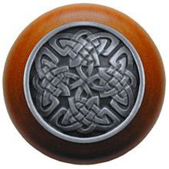 """Notting Hill, Arts and Crafts Celtic, Celtic Isles, 1 1/2"""" Round Wood Knob, Antique Pewter with Cherry Wood Finish"""
