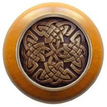 """Notting Hill, Arts and Crafts Celtic, Celtic Isles, 1 1/2"""" Round Wood Knob, Antique Brass with Maple Wood Finish"""