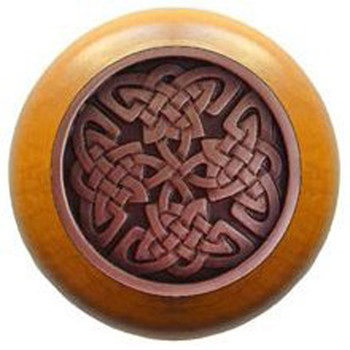 """Notting Hill, Arts and Crafts Celtic, Celtic Isles, 1 1/2"""" Round Wood Knob, Antique Copper with Maple Wood Finish"""