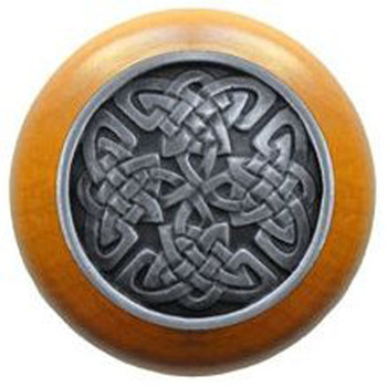 """Notting Hill, Arts and Crafts Celtic, Celtic Isles, 1 1/2"""" Round Wood Knob, Antique Pewter with Maple Wood Finish"""