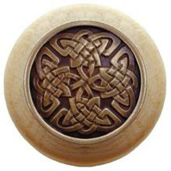 "Notting Hill, Arts and Crafts Celtic, Celtic Isles, 1 1/2"" Round Wood Knob, Antique Brass with Natural Wood Finish"
