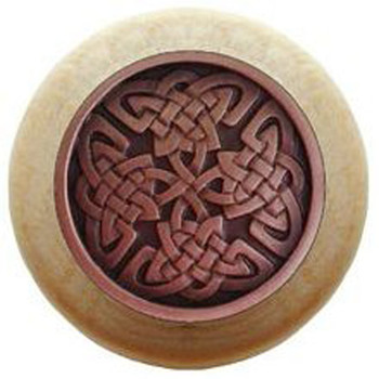 "Notting Hill, Arts and Crafts Celtic, Celtic Isles, 1 1/2"" Round Wood Knob, Antique Copper with Natural Wood Finish"