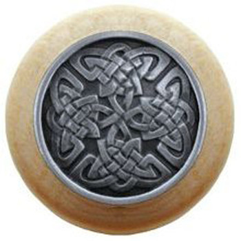 "Notting Hill, Arts and Crafts Celtic, Celtic Isles, 1 1/2"" Round Wood Knob, Antique Pewter with Natural Wood Finish"