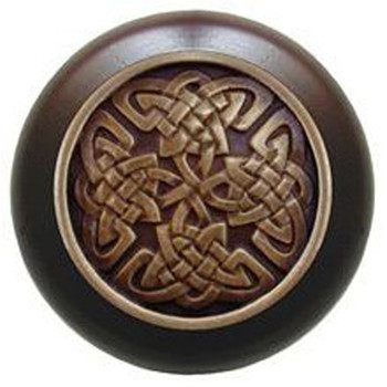 """Notting Hill, Arts and Crafts Celtic, Celtic Isles, 1 1/2"""" Round Wood Knob, Antique Brass with Dark Walnut Wood Finish"""