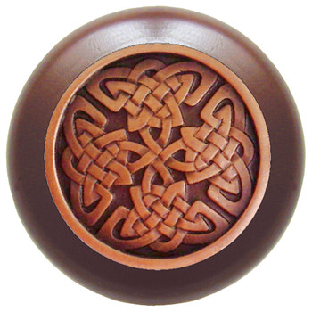 """Notting Hill, Arts and Crafts Celtic, Celtic Isles, 1 1/2"""" Round Wood Knob, Antique Copper with Dark Walnut Wood Finish"""