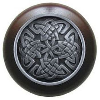 """Notting Hill, Arts and Crafts Celtic, Celtic Isles, 1 1/2"""" Round Wood Knob, Antique Pewter with Dark Walnut Wood Finish"""