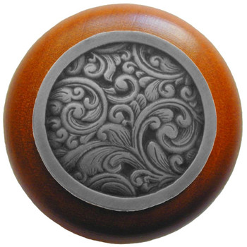 "Notting Hill, Saddleworth, 1 1/2"" Round Wood Knob, in Antique Pewter with Cherry wood finish"