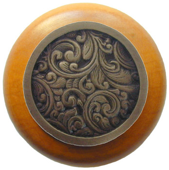 "Notting Hill, Saddleworth, 1 1/2"" Round Wood Knob, in Antique Brass with Maple Wood Finish"