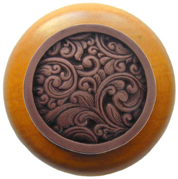 "Notting Hill, Saddleworth, 1 1/2"" Round Wood Knob, in Antique Copper with Maple Wood Finish"