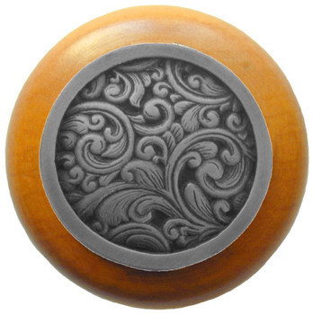 "Notting Hill, Saddleworth, 1 1/2"" Round Wood Knob, in Antique Pewter with Maple wood finish"