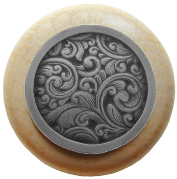 "Notting Hill, Saddleworth, 1 1/2"" Round Wood Knob, in Antique Pewter with Natural wood finish"