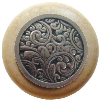 "Notting Hill, Saddleworth, 1 1/2"" Round Wood Knob, in Brite Nickel with Natural wood finish"