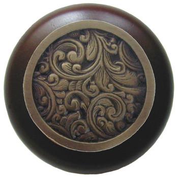 "Notting Hill, Saddleworth, 1 1/2"" Round Wood Knob, in Antique Brass with Dark Walnut wood finish"