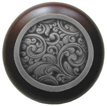 "Notting Hill, Saddleworth, 1 1/2"" Round Wood Knob, in Antique Pewter with Dark Walnut wood finish"