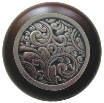 "Notting Hill, Saddleworth, 1 1/2"" Round Wood Knob, in Brite Nickel with Dark Walnut wood finish"