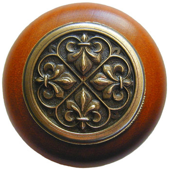 "Notting Hill, Fleur-de-Lis, 1 1/2"" Round Wood Knob, in Antique Brass with Cherry wood finish"