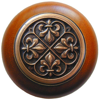 "Notting Hill, Fleur-de-Lis, 1 1/2"" Round Wood Knob, in Antique Copper with Cherry wood finish"