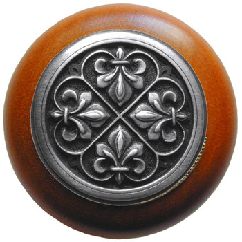 "Notting Hill, Fleur-de-Lis, 1 1/2"" Round Wood Knob, in Antique Pewter with Cherry wood finish"