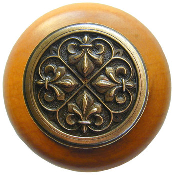 "Notting Hill, Fleur-de-Lis, 1 1/2"" Round Wood Knob, in Antique Brass with Maple wood finish"
