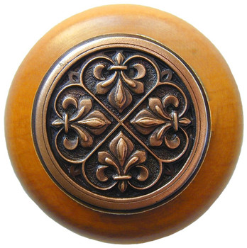 "Notting Hill, Fleur-de-Lis, 1 1/2"" Round Wood Knob, in Antique Copper with Maple wood finish"
