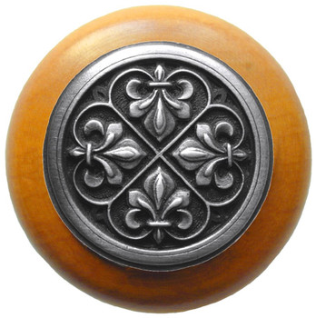 "Notting Hill, Fleur-de-Lis, 1 1/2"" Round Wood Knob, in Antique Pewter with Maple Wood Finish"