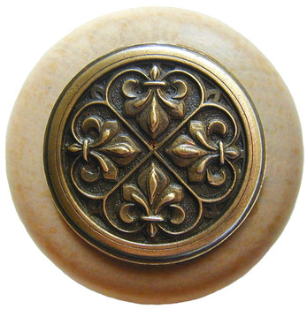 "Notting Hill, Fleur-de-Lis, 1 1/2"" Round Wood Knob, in Antique Brass with Natural wood finish"