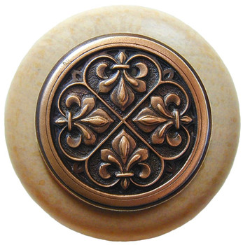 "Notting Hill, Fleur-de-Lis, 1 1/2"" Round Wood Knob, in Antique Copper with Natural wood finish"