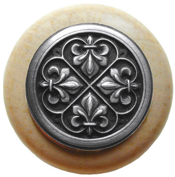 "Notting Hill, Fleur-de-Lis, 1 1/2"" Round Wood Knob, in Antique Pewter with Natural wood finish"