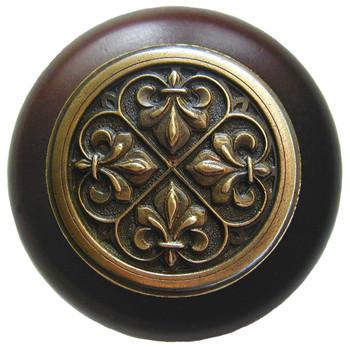 "Notting Hill, Fleur-de-Lis, 1 1/2"" Round Wood Knob, in Antique Brass with Dark Walnut wood finish"