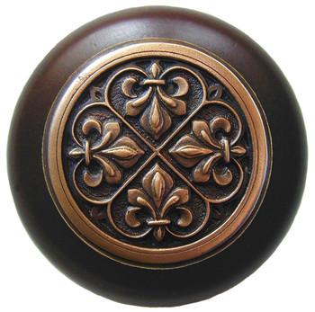 "Notting Hill, Chateau, Fleur-de-Lis, 1 1/2"" Round Wood Knob, Antique Copper with Dark Walnut Wood Finish"