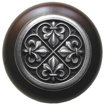 "Notting Hill, Fleur-de-Lis, 1 1/2"" Round Wood Knob, in Antique Pewter with Dark Walnut wood finish"