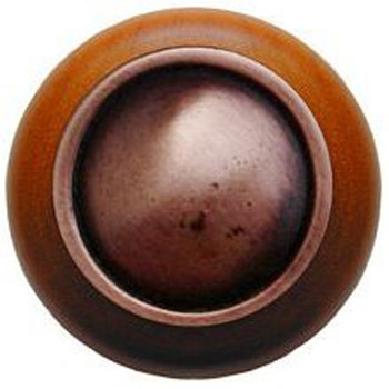 "Notting Hill, Classic, Plain Dome Wood, 1 1/2"" Round Knob, Antique Copper with Cherry Wood"