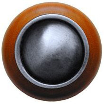 """Notting Hill, Classic, Plain Dome Wood, 1 1/2"""" Round Knob, Antique Pewter with Cherry Wood"""