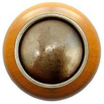 "Notting Hill, Plain Dome Wood, 1 1/2"" Round Knob, in Antique Brass with Maple Wood"