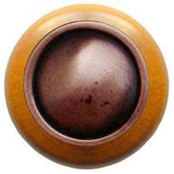 """Notting Hill, Classic, Plain Dome Wood, 1 1/2"""" Round Knob, Antique Copper with Maple Wood"""