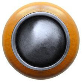 """Notting Hill, Classic, Plain Dome Wood, 1 1/2"""" Round Knob, Antique Pewter with Maple Wood"""
