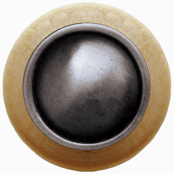 """Notting Hill, Classic, Plain Dome Wood, 1 1/2"""" Round Knob, Antique Pewter with Natural Wood"""