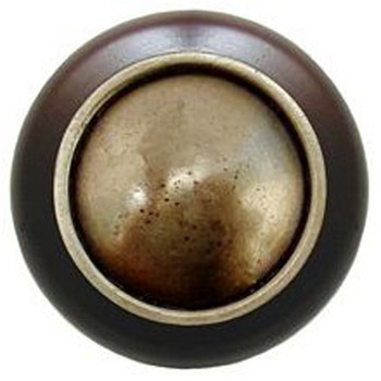 "Notting Hill, Plain Dome Wood, 1 1/2"" Round Knob, in Antique Brass with Dark Walnut Wood"