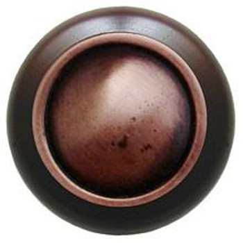"""Notting Hill, Classic, Plain Dome Wood, 1 1/2"""" Round Knob, Antique Copper with Dark Walnut Wood"""