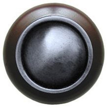 """Notting Hill, Classic, Plain Dome Wood, 1 1/2"""" Round Knob, Antique Pewter with Dark Walnut Wood"""