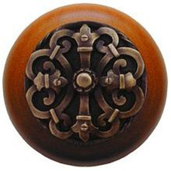 "Notting Hill, Chateau, 1 1/2"" Round Wood Knob, Antique Brass with Cherry Wood Finish"