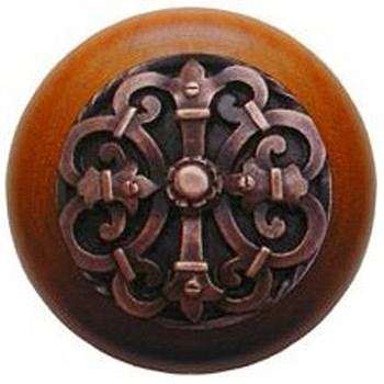 "Notting Hill, Chateau, 1 1/2"" Round Wood Knob, in Antique Copper with Cherry wood finish"