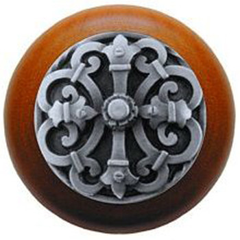 "Notting Hill, Chateau, 1 1/2"" Round Wood Knob, in Antique Pewter with Cherry wood finish"