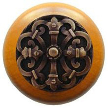 "Notting Hill, Chateau, 1 1/2"" Round Wood Knob, in Antique Brass with Maple wood finish"