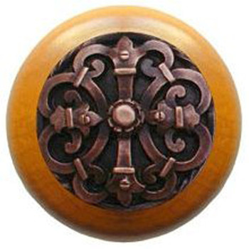 "Notting Hill, Chateau, 1 1/2"" Round Wood Knob, in Antique Copper with Maple wood finish"