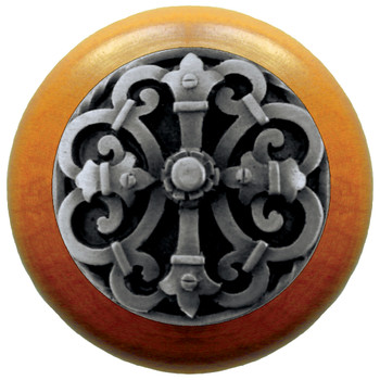 """Notting Hill, Chateau, 1 1/2"""" Round Wood Knob, Antique Pewter with Maple Wood Finish"""