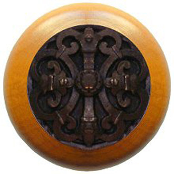 """Notting Hill, Chateau, 1 1/2"""" Round Wood Knob, Dark Brass with Maple Wood Finish"""