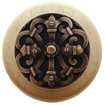 "Notting Hill, Chateau, 1 1/2"" Round Wood Knob, in Antique Brass with Natural wood finish"