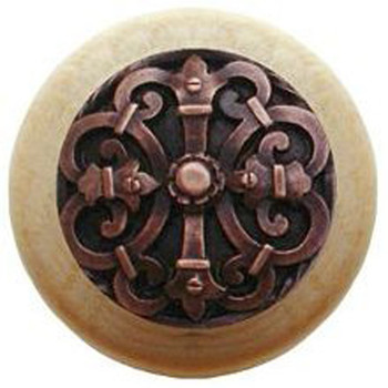 "Notting Hill, Chateau, 1 1/2"" Round Wood Knob, Antique Copper with Natural Wood Finish"