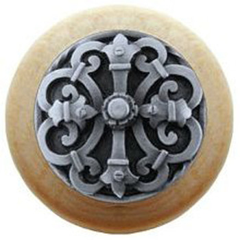 "Notting Hill, Chateau, 1 1/2"" Round Wood Knob, Antique Pewter with Natural Wood Finish"